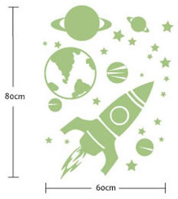 Glow in the Dark Rocket, Planets and Stars Wall Stickers image 3