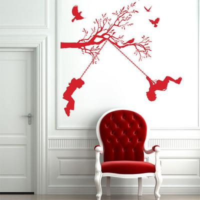 Children On Swings Wall Sticker