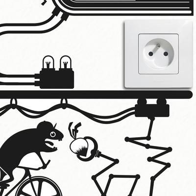 Hamster Fixie Bike Outlet Wall Sticker image 2