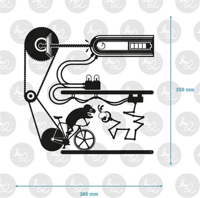 Hamster Fixie Bike Outlet Wall Sticker image 3