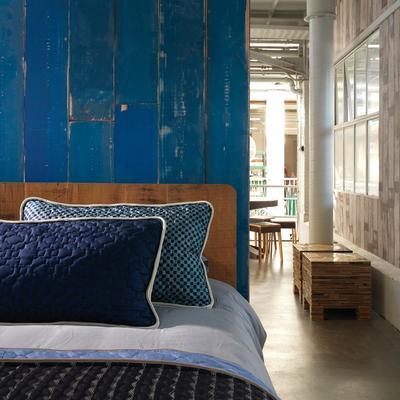 Blue Scrapwood Wallpaper