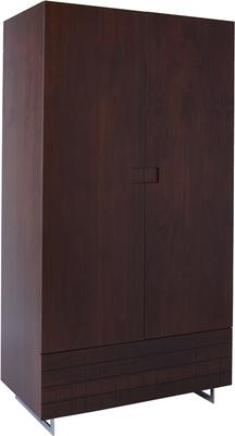 Barcelona Wardrobe with Drawer in Grid Texture - Walnut