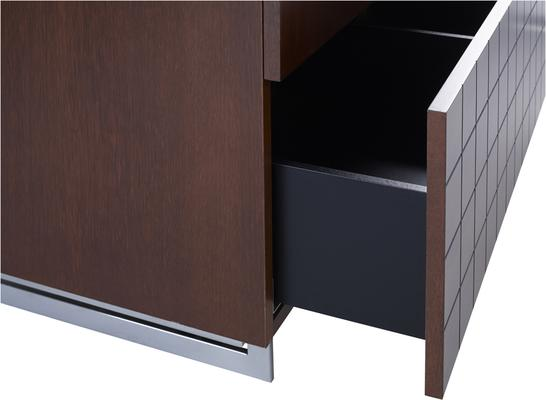 Barcelona Wardrobe with Drawer in Grid Texture - Walnut image 3