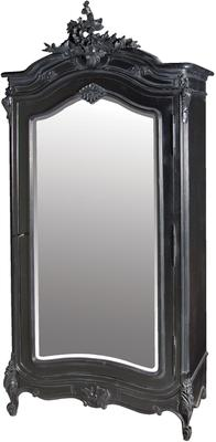 Black French Armoire with Mirrored Front