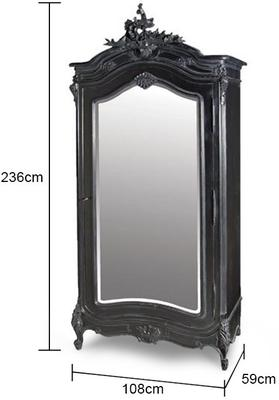 Black French Armoire with Mirrored Front image 2
