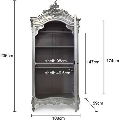 Black French Armoire with Mirrored Front image 8