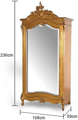 Black French Armoire with Mirrored Front image 10