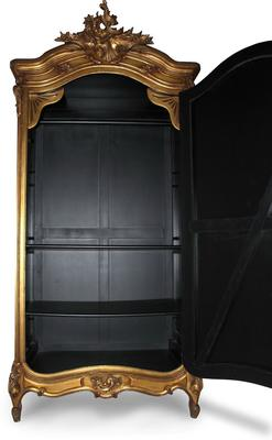 Black French Armoire with Mirrored Front image 11