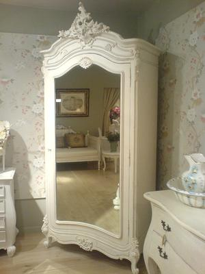 Black French Armoire with Mirrored Front image 14