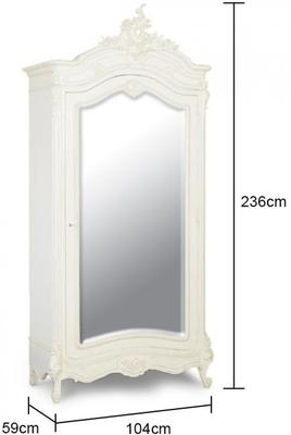 Black French Armoire with Mirrored Front image 15