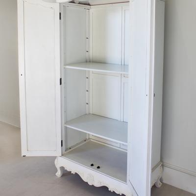 Classic French Armoire White Mirrored Doors image 2