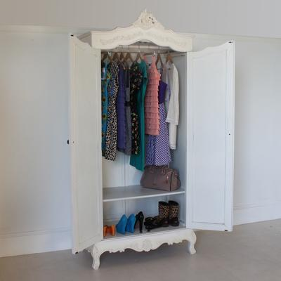 Classic French Armoire White Mirrored Doors image 3