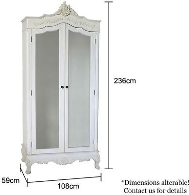 Classic French Armoire White Mirrored Doors image 5