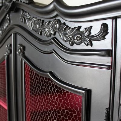 French Black Wire-Fronted Armoire with Pink Interior image 3