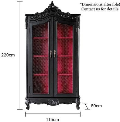 French Black Wire-Fronted Armoire with Pink Interior image 5