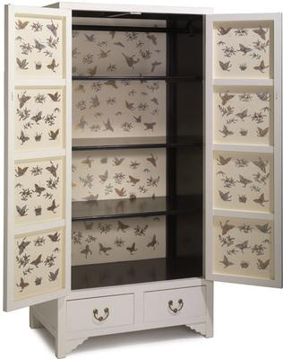 Ivory Lacquer Wardrobe with Butterfly Interior