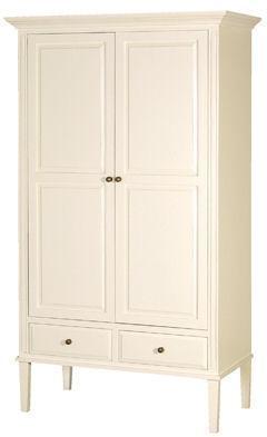 Classic Two Door Wardrobe Painted Wood - Cream or Grey