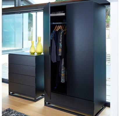 Cordoba Modern Wardrobe with Blanket Drawer - Black wenge veneer image 3