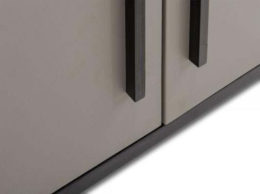 Roux Wardrobe Taupe Leather Look and Wood Frame image 4