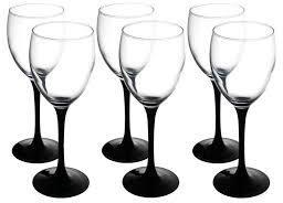 6 x Black Stem White Wine Glasses image 2