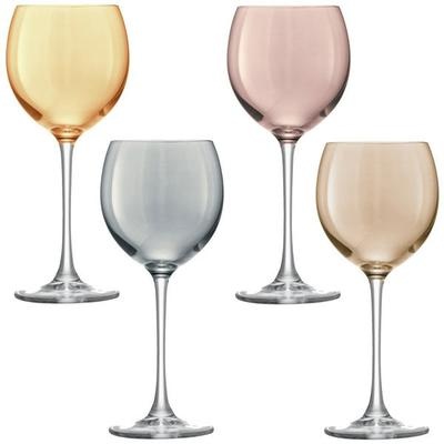 LSA Set of 4  Polka Wine Glasses - Metallic