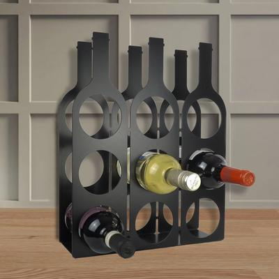 Bottle Design Metal Wine Rack - Black