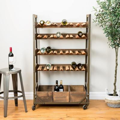 Harlem Vintage Industrial Wine Shelf Rack On Wheels image 7