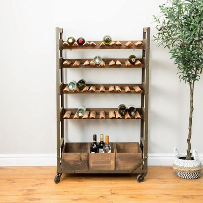 Harlem Vintage Industrial Wine Shelf Rack On Wheels image 8