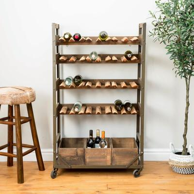 Harlem Vintage Industrial Wine Shelf Rack On Wheels image 9