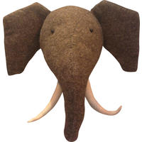 Felt Elephant Head with Tusks Wall Hanging