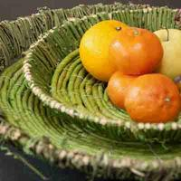 Set of 2 green round fruit baskets