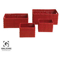 4 x Galzone Red Storage Baskets