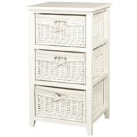 White 3 drawer Basket Chest