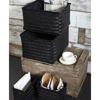Black Bamboo Storage Baskets, Set of 4