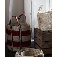 Jute Basket Striped Tall