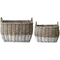 Set of 2 Square Natural & White Baskets