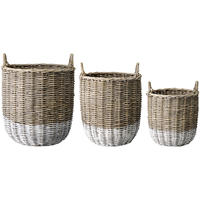 Set of 3 Natural & White Baskets