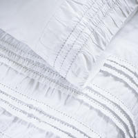 Ruffle Ruched White Bed Linen