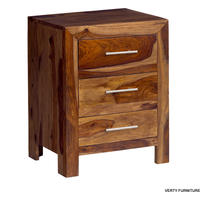Cube Sheesham 3 Drawer Bedside Table from Verty furniture