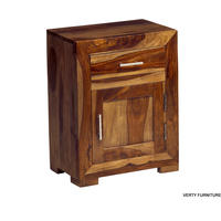 Cube Sheesham 1 Drawer Bedside Table from Verty furniture