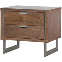 Two Drawer Walnut Retro Bedside