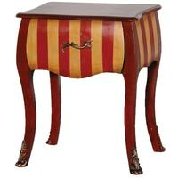 Red Striped Bedside Table