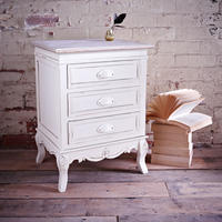 Brittany 3 Drawer Bedside Table - Cream