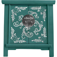 Bedside Teal and Silver Cabinet