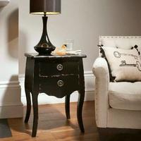 Black French Style Bedside Chest