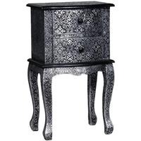 Black & Silver Metal Bedside Table
