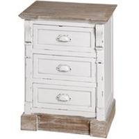 Provence White 3 Drawer Bedside Table
