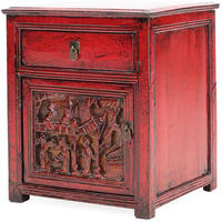 Red Lacquer Carved Side Cabinet