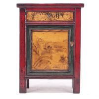 Red Lacquer Painted Side Cabinet