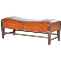 Aruba Wood and Leather Bench